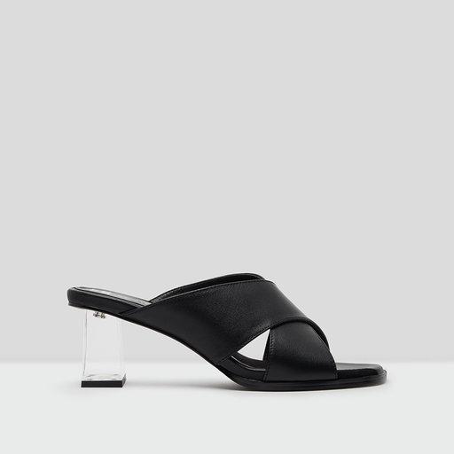 E8 miista paloma black leather mid heels