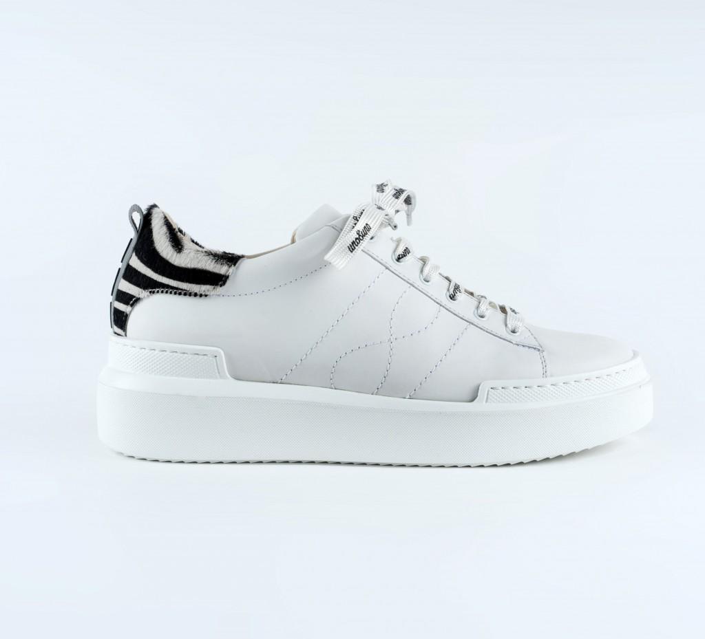 Uno otto uno Volta white leather sneaker zebra detail