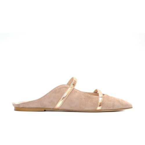 The bag suede beige rose gold detail flat mule