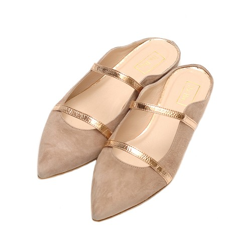 The-bag-suede-beige-rose-gold-detail-flat-mule