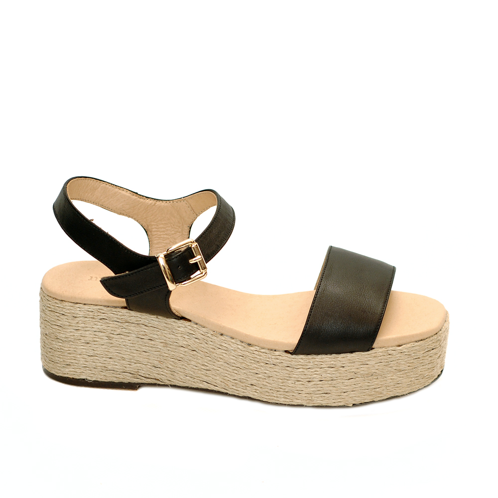 Maypol opal nature black leather jute platforms