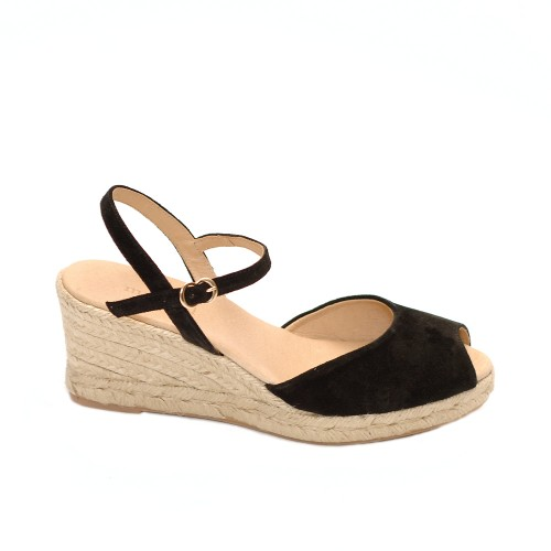Maypol loma baby silk black suede wedges