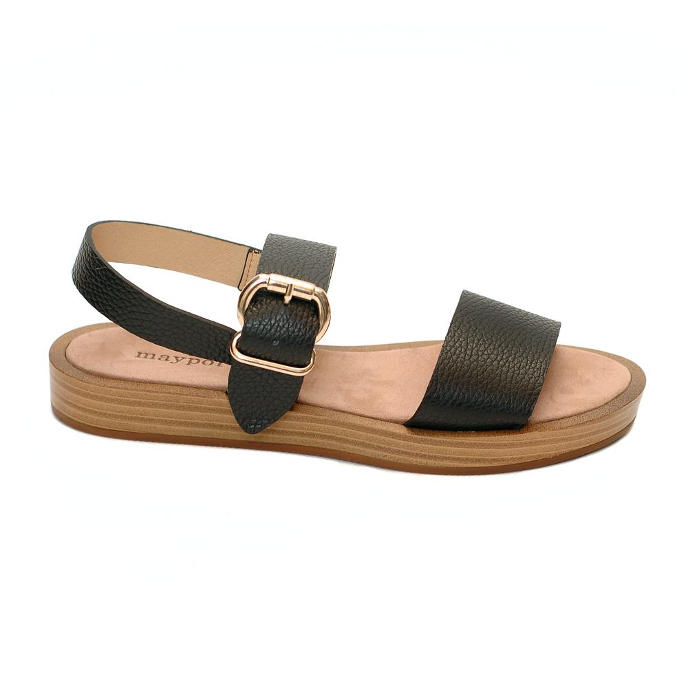 Maypol ecomo bufallo black leather sandals