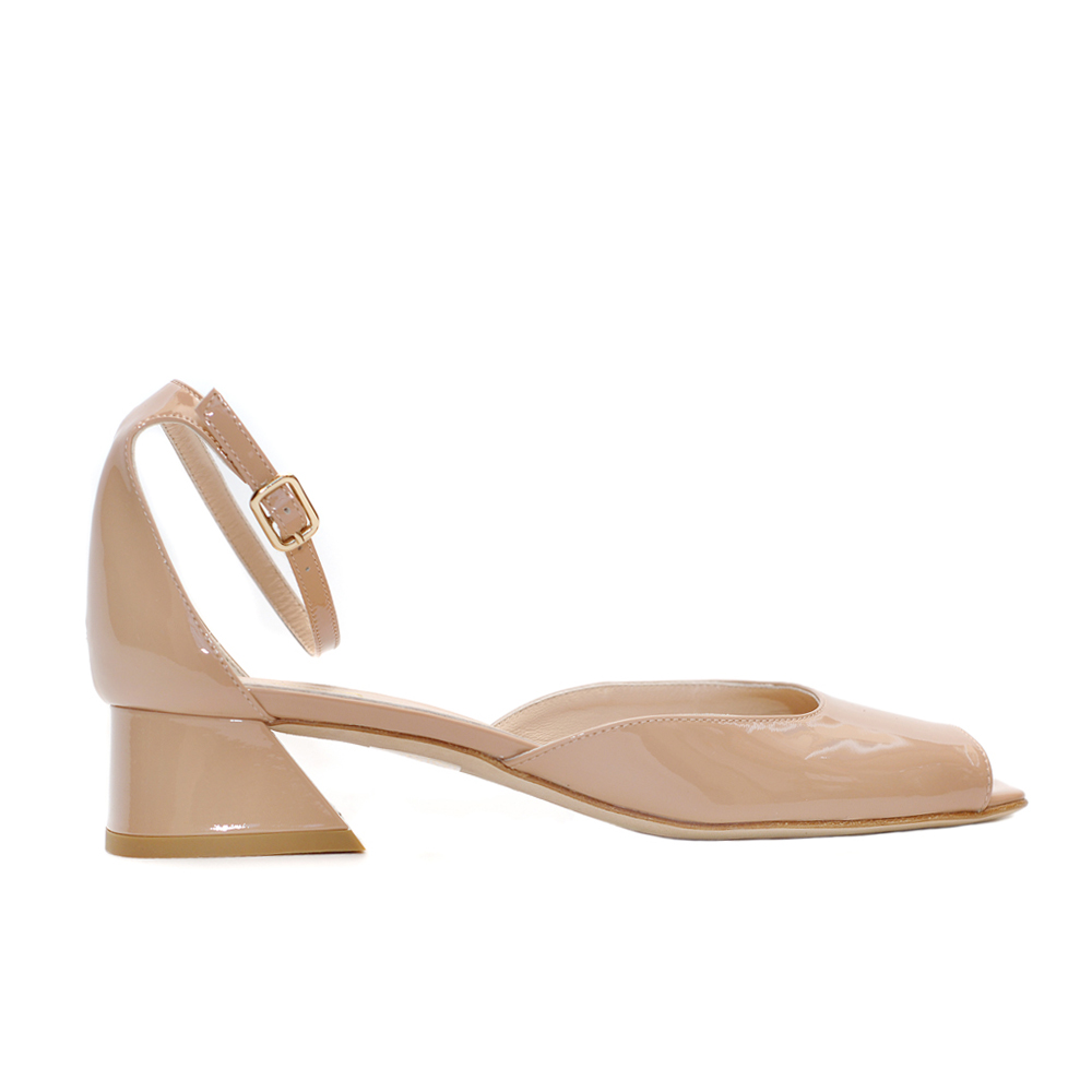 The bag nude patent leather slingback peep toe