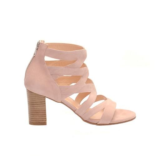 The-bag leather nude multi strap block heel sandals