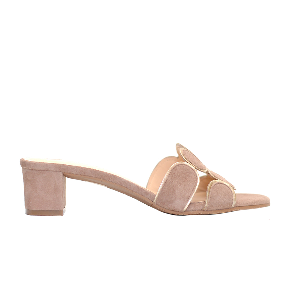 The bag puce suede mule golden detail