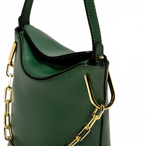 Gianni-chiarini-sophia-green-medium-bucket-goledn-chain