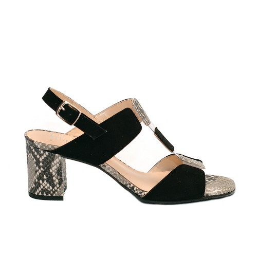 The bag suede leather balck snake print sandals