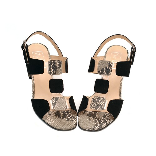 The-bag-suede-leather-balck-snake-print-sandals