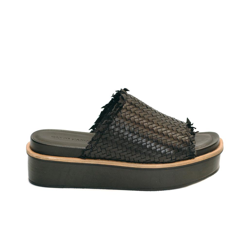 Elvio zanon black knitted leather mule platforms