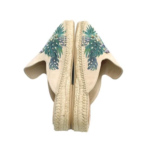 Carmen Saiz Embroidered Suede Espadrille Slides