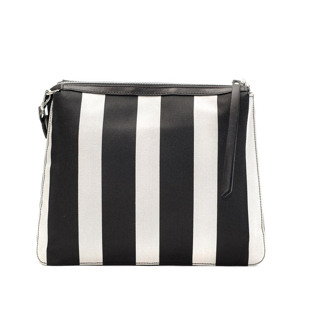 Kate koll meium black and white stripes shoulder bag