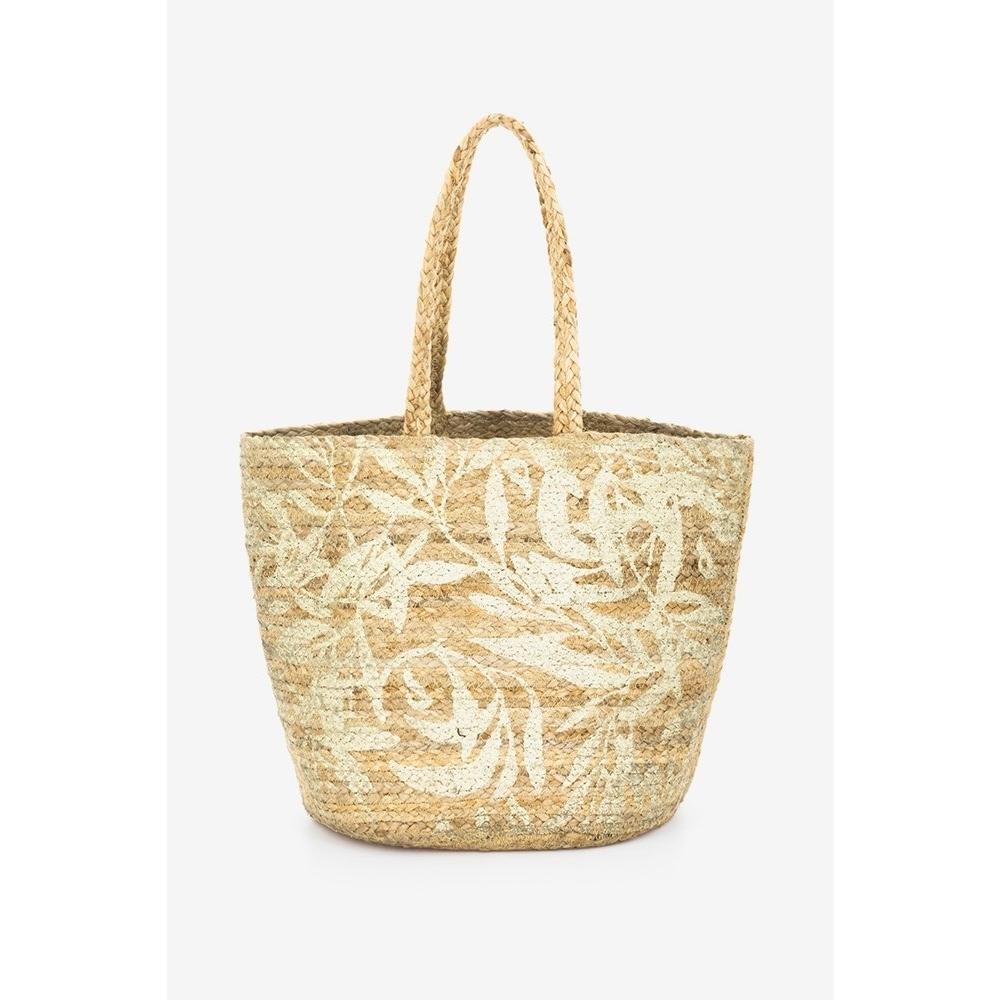 Abbacino gold beige jute beach shopper bag