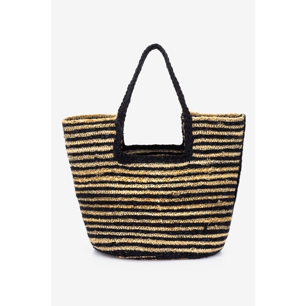 Abbacino black beige pinstrap jute beach shopper bag