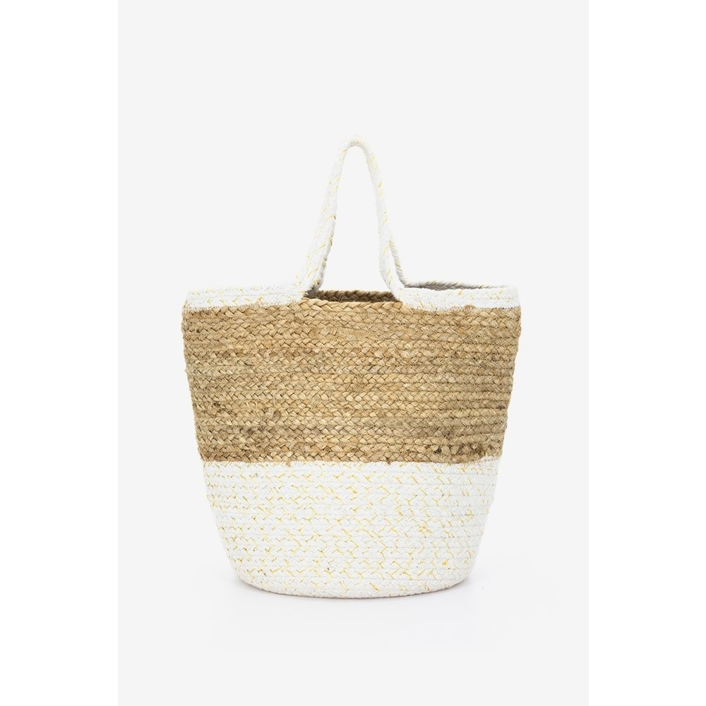 Abbacino white jute beach tote bag