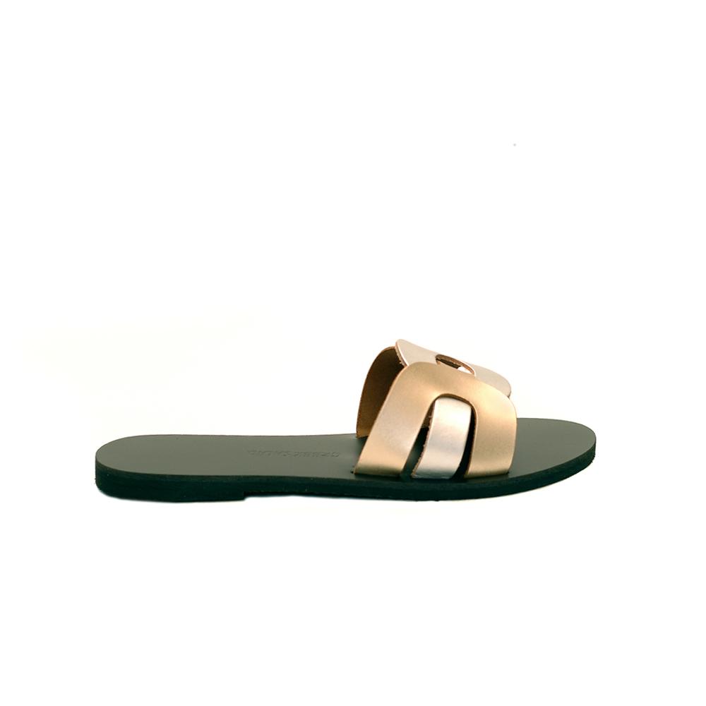 Greek salad sandals faliraki silver gold leather slides