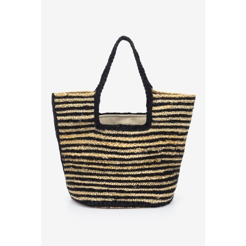 Abbacino Beige Black Pinstrap Jute Shopper Beach Bag