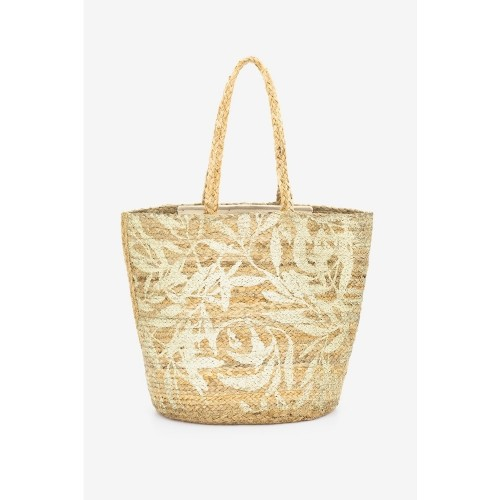 Abbacino Handmade Gold Beige Jute Beach Shopper Bag