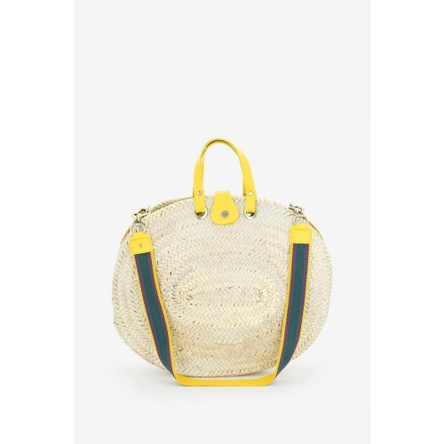Abbacino Large Yellow Round Raffia Tote Bag