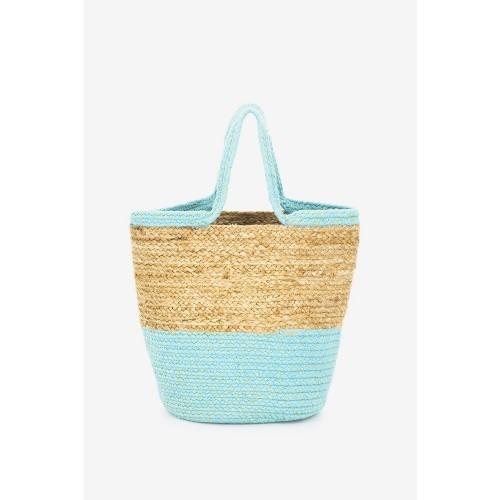 Abbacino Turquoise Jute Beach Tote Bag