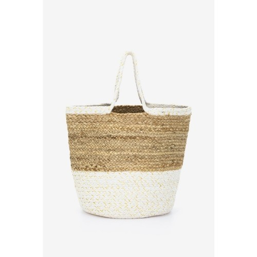 Abbacino White Beige Jute Beach Tote Bag