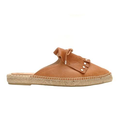 Carmen Saiz Pointed Tabac Leather Espadrille Slippers