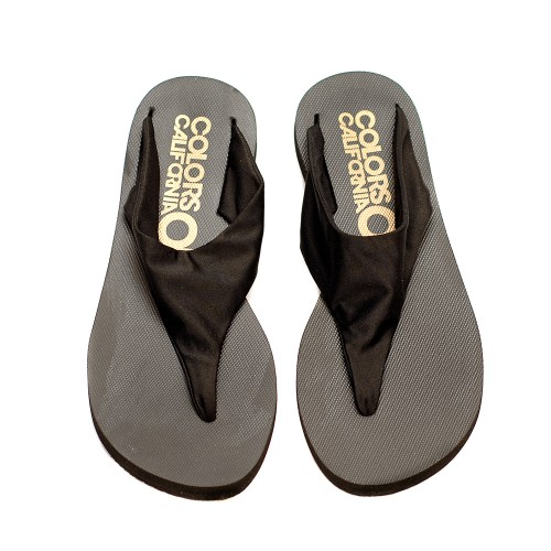Colors Of California Black Elastic Band Flip Flops