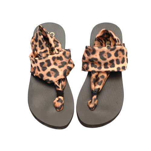 Colors Of California Leopard Print Elastic Band Flip Flops