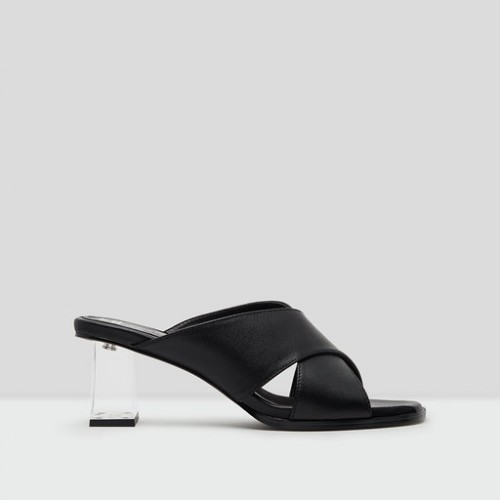 E8 Miista Paloma Black Leather Mid Heels