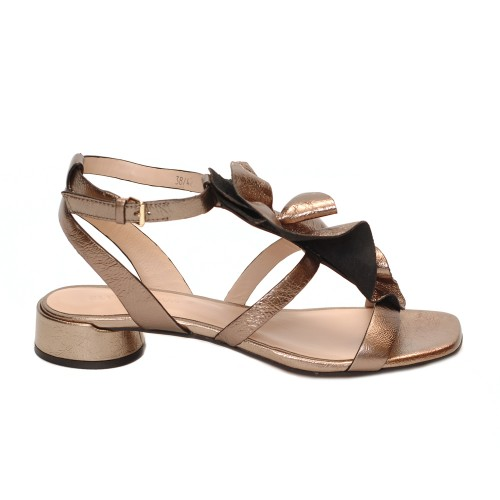 Elvio Zanon Multistrap Bronze Leather Flur Detail Sandals