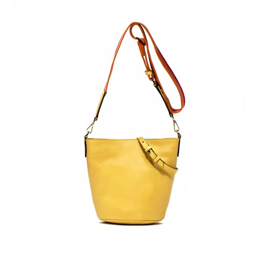 Gianni Chiarini Jackie Large Yellow Leather Bucket Bag