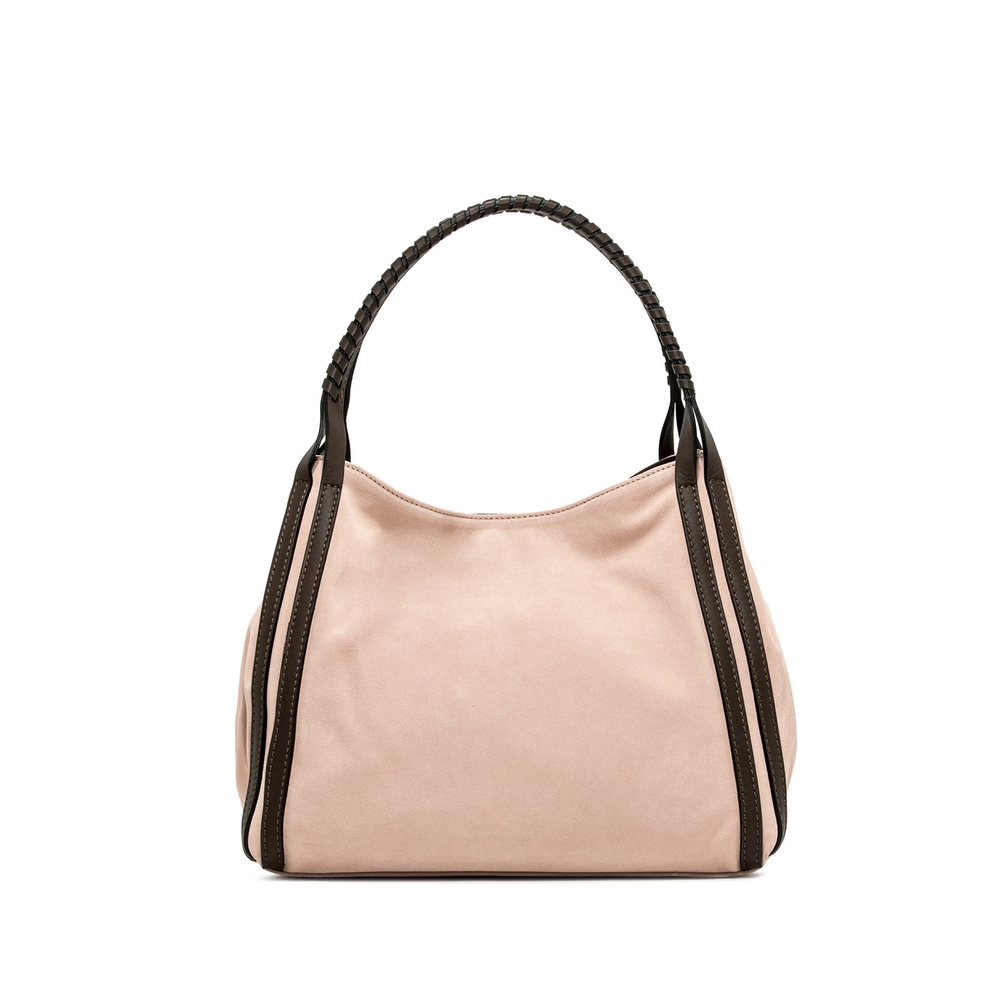 Gianni Chiarini Lauren Large Nude Suede Shoulder Bag