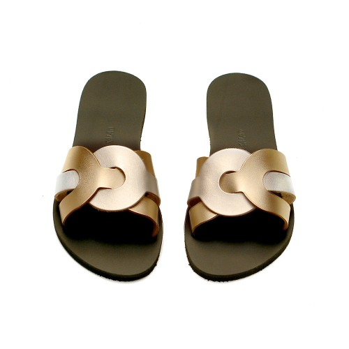 Greek-Salad-Sandals-Faliraki-Silver-Gold-Leather-Slides