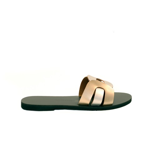 Greek Salad Sandals Faliraki Silver Gold Leather Slides