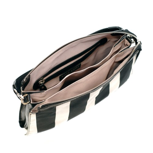 Kate-Koll-Medium Black-And-White Stripes-Shoulder-Bag