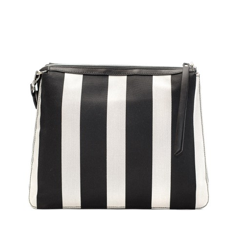 Kate Koll Medium Black And White Stripes Shoulder Bag