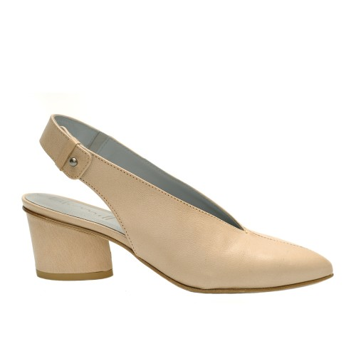 Lilimill Cipria Beige Leather Sling Back Pumps