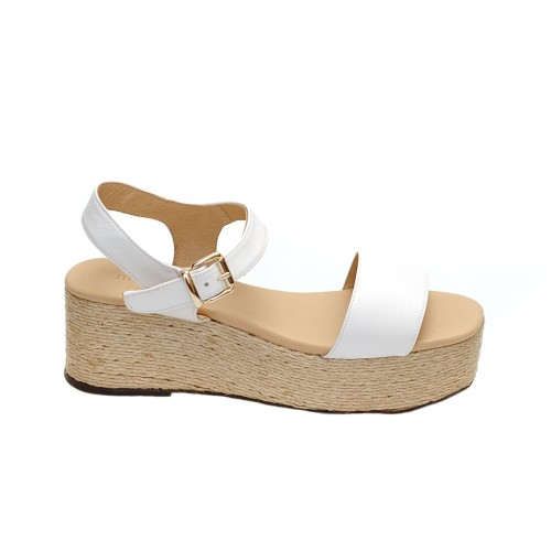 Maypol Opal Nature White Leather Jute Platforms