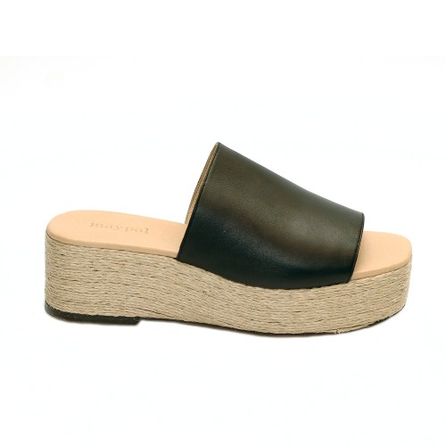 Maypol Opus Black Leather Jute Mule Platforms