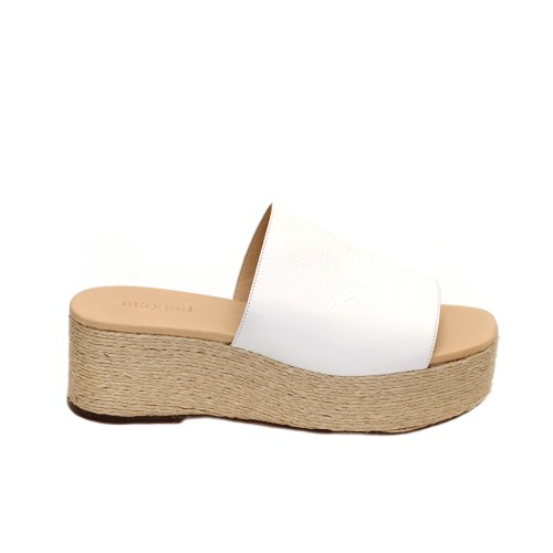 Maypol Opus White Leather Jute Mule Platforms
