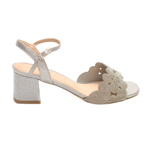 Menbur Verbicaro Silver Mid Heel Sandals Textile Upper