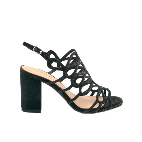Menbur Vertova Black High HeeL Sandals Textile Straps