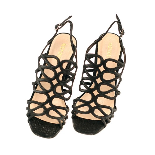Menbur-Vertova-Black-High-HeeL-Sandals-Textile-Straps