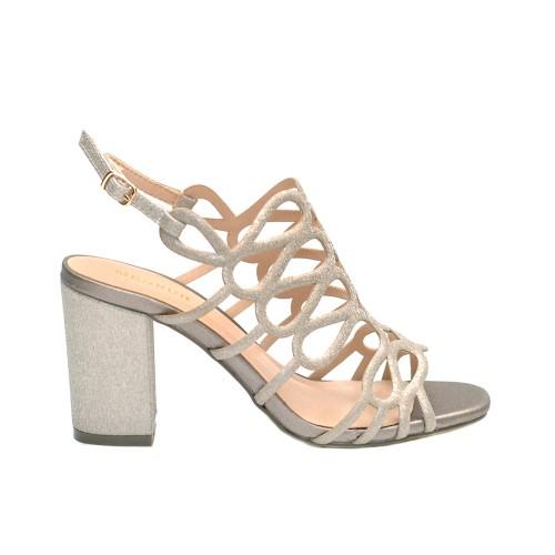 Menbur Vertova Silver High Heel Sandals Textile Straps