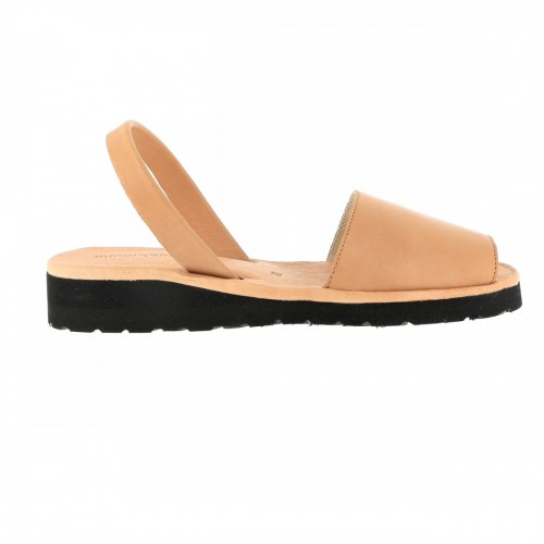 Minorquines Avarca Platja Beige Leather Sandals