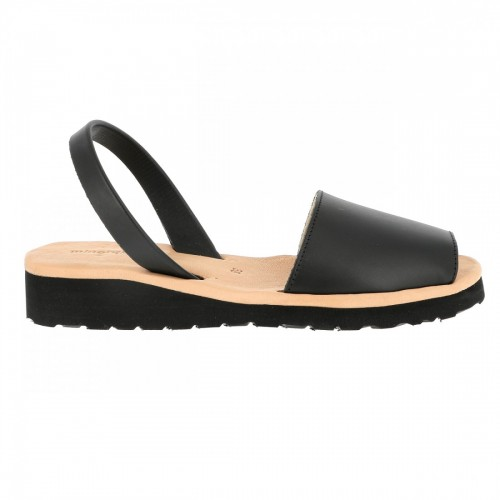 Minorquines Avarca Platja Black Leather Sandals