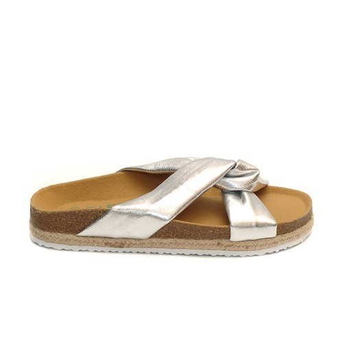 Paez Crosswise Silver Sandals Triple Line Sole