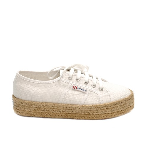 Superga 2730 Cotrope White Canvas Flatform Sneakers