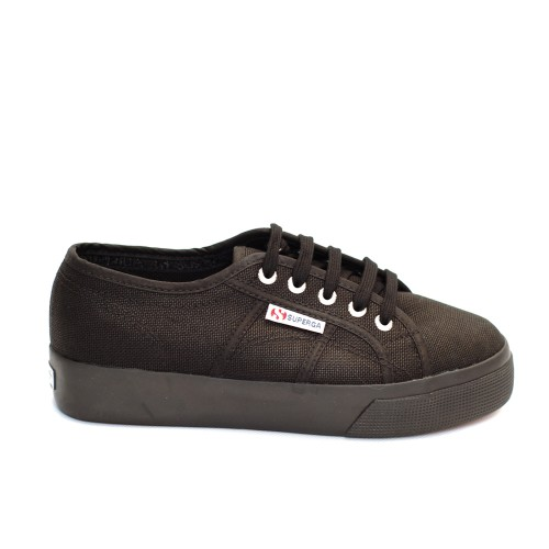 Superga 2730 Cotu Full Black Canvas Flatforms