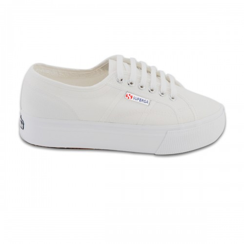 Superga 2730 Cotu White Canvas Flatforms
